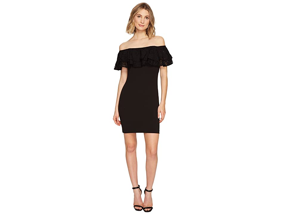 Jessica Simpson Solid Scuba Ruffle Off the Shoulder Dress (Black) Women