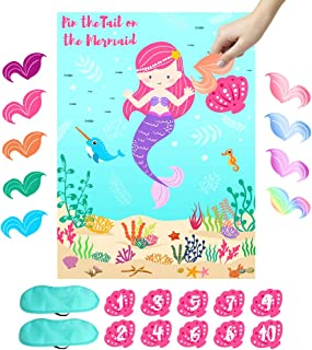 OurWarm Pin the Tail on the Mermaid Party Game, Under The Sea Party Games for Kids Mermaid Birthday Party Supplies, Includ...