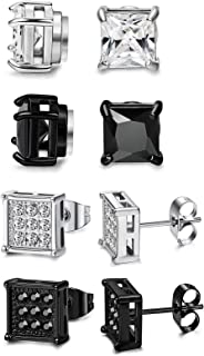 FIBO STEEL Stainless Steel Magnetic Stud Earrings for Men Women Fake Non-piercing Round Square CZ Ear Studs