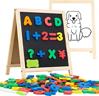 INNOCHEER Magnetic Letters and Numbers with Easel for Kids- 133 Pieces Alphabet Magnets, Educational Dry Erase Board - Whi...