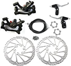 BlueSunshine Front and Back Disk Brake Kit - Aluminum Alloy Calipers, 2 Pcs Stainless Steel G3 160 mm Rotors & Cable & Brake Lever & 12 Bolts, Freewheel Threaded Hubs Hole Distance of 48mm
