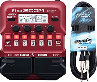 Zoom B1 FOUR - Aparato de efectos para bajo y cable jack keepdrum (3 m)