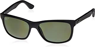 RAY-BAN RB4181 Square Sunglasses, Black/Polarized Green, 57 mm