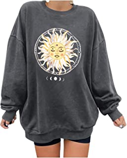 Vintage Crewneck Sweatshirts for Women Oversized Moon and Sun Print Graphic Pullover Tops Loose Casual Long Sleeve Blouse