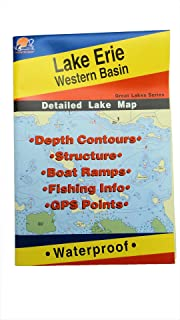 Lake Erie Western Basin Map, GPS Points, Waterproof Detailed Lake Map - #L127