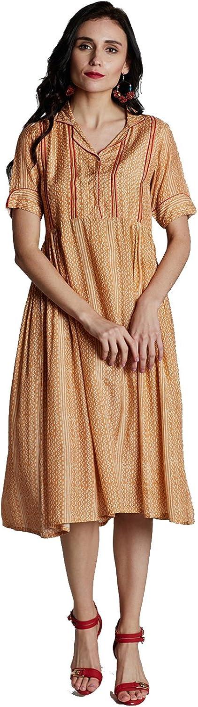 Jaipur Kurti Women's orange Muslin Dress