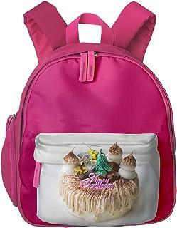 Funny Christmas Mont Blanc Cake Children Backpack Pocket Zipper Outdoor Travel School Book Bag
