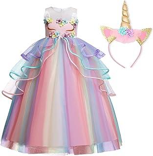 TTYAOVO Ragazze Unicorno Principessa Increspature Vestito