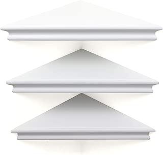 kieragrace Providence Reilly Triangle Corner Shelf – Set of 3, White, 11-Inch, Matte Finish