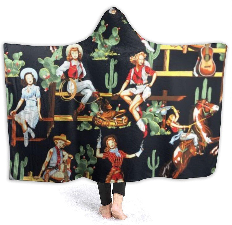 Western Girl Riding Dedication Superlatite Horse Cactus Hooded Vintage Throw Blanket Fl