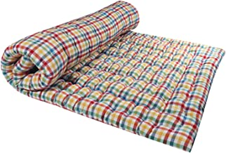 Takiyawala 100% Cotton Multicolor Strip Mattress with White Poly-Cotton Filling for Single Bed (36 X 72 X 3 Inches)