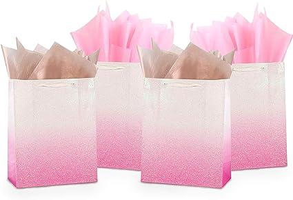 Amazon Com Uniqooo 12 Bolsas De Regalo De Color Rosa Con Purpurina A Granel 100 Reciclables Bolsas De Papel Para Envolver Regalos Para Despedidas De Bebé Boda Cumpleaños Fiesta De Agradecimiento Pascua Día
