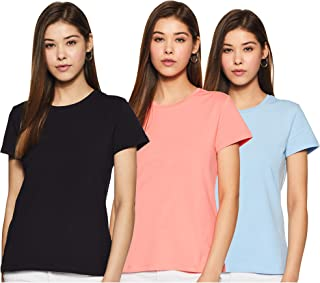 Amazon Brand - Symbol Women's Solid Regular Fit Half Sleeve T-Shirt (Pack of 3)