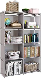 Rerii Cube Organizer Shelf, 8 Cubes Storage Shelves Closet Organizer, Cabinet Bookcase, Bookshelf, Free Standing Shelves for Bedroom Living Room Office 32 x 11 x 49 Inches