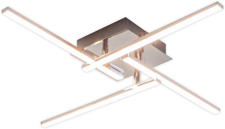 Lampenwelt LED Deckenleuchte 'Nikan' (Modern) in Alu aus Metall u.a. für Wohnzimmer & Esszimmer (4 flammig, A+, inkl. Leuchtmittel) - Lampe, LED-Deckenlampe, Deckenlampe, Wohnzimmerlampe
