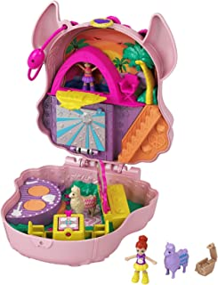 Polly Pocket Llama Music Party Compact with Stage, Spinning Dance Floor, Food Stalls and Table, Picnic Basket, Micro Polly & Lila Dolls, 2 Llama Figures and Sticker Sheet; for Ages 4 Years Old & Up