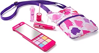 Girls Makeup Palette with Mirror iPhone Compact and Phone Purse Set Pink Purple