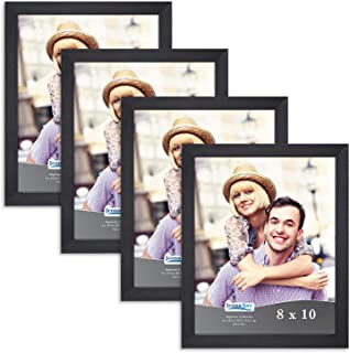 Icona Bay 8x10 Picture Frame Pack (4 Pack, Black) 8 x 10 Frame, Tabletop and Wall Hang Hardware Included with Photo Frames, Impresia Collection