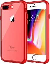 JETech Case for Apple iPhone 8 Plus and iPhone 7 Plus 5.5-Inch, Shock-Absorption Bumper Cover, Anti-Scratch Clear Back, Red