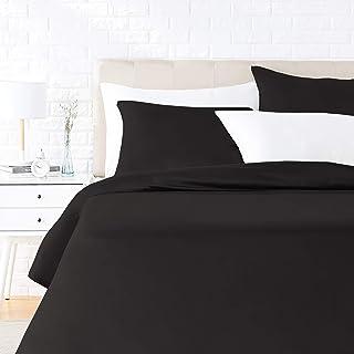 Amazon Basics Parure de lit avec housse de couette en satin, 240 x 220 cm / 65 x 65 cm x 2, Noir