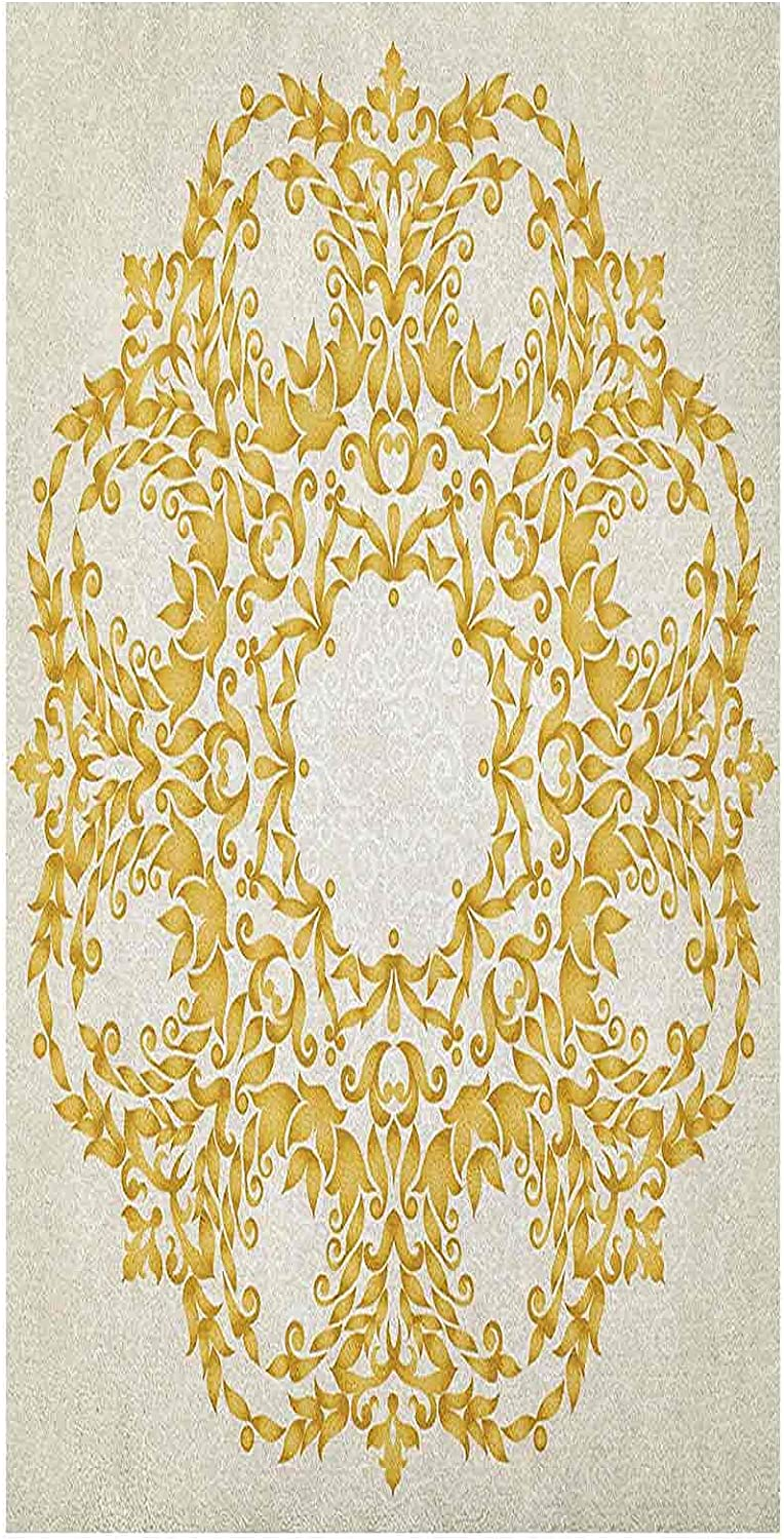 Static Victorian Recommendation Window Film Traditional 100% quality warranty Gold Circ Floral Round