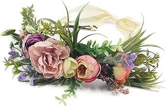 Besoogii Flower Garland Crown Wreath Boho Floral Headband Halo Headpiece with Adjustable Ribbon for Wedding Party