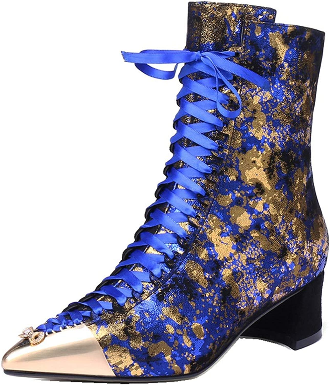 Women's Ankle Boots, Leather Bare Boots Fashion Metallic Toe Floral Fringe Boots Pointed Toe Zipper Novelty Boots (color   A, Size   35)
