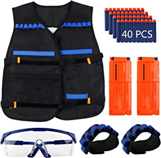 Tactical Vest Jacket Kits for Nerf N-Strike with 40pcs Darts + Protective Goggles Glasses + 2pcs Quick Reload Clip + 2pcs Hand Wrist Band