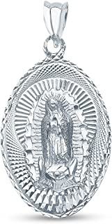 14K White Gold Diamond-Cut Religious Our Lady of Guadalupe Virgin Mary Charm Pendant (25x17 mm)