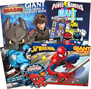 Coloring Books for Boys Super Set -- 4 Giant Coloring Books with Stickers Featuring Marvel Avengers, Spiderman, Power Rangers, How To Train Your Dragon