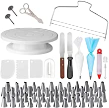 73 Pieces Cake Decorating Tools, Your Complete Baking Supplies, This Set Includes Cake Turntable(1), Icing Tips(48) Icing ...