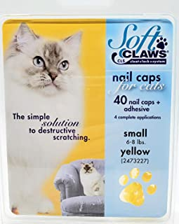 Soft Claws Feline Cat Nail Caps Take Home Kit, Small, Yellow