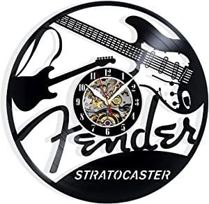 Vinyl Evolution Record Wall Clock Compatible with Fender Stratocaster Guitars Art Home Decor Interior Design Best Gift for Fans Room Wall Art