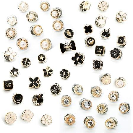 50 pezzi Camicia da donna Spilla Bottoni Spilla di sicurezza Spille Bottone per bottoni Bottoni invisibili in metallo Spilla Spille da bavero Bottoni Frizione posteriore Accessori per abiti abbinati