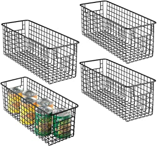 mDesign Farmhouse Decor Metal Wire Food Storage Organizer Bin Basket with Handles for Kitchen Cabinets, Pantry, Bathroom, Laundry Room, Closets, Garage - 16
