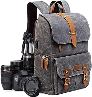 Multifuncional Mochila Camping para Cámara,Antirrobo Mochila Viaje de DSLR/Réflex Impermeable,Mochila Casual Fotográfica Vintage para Laptop/Accesorio/Digital,Compatible con Canon Nikon Sony