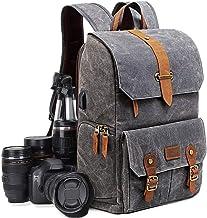 UBAYMAX Kamerarucksack Kameratasche, Wasserdicht Canvas Leinenstoff und Echt-Leder DSLR Rucksack, 15,6 Zoll Laptop Rucksack, Fotorucksack für Kamera Zubehör und Outdoor Sport Reise Dunkelgrau