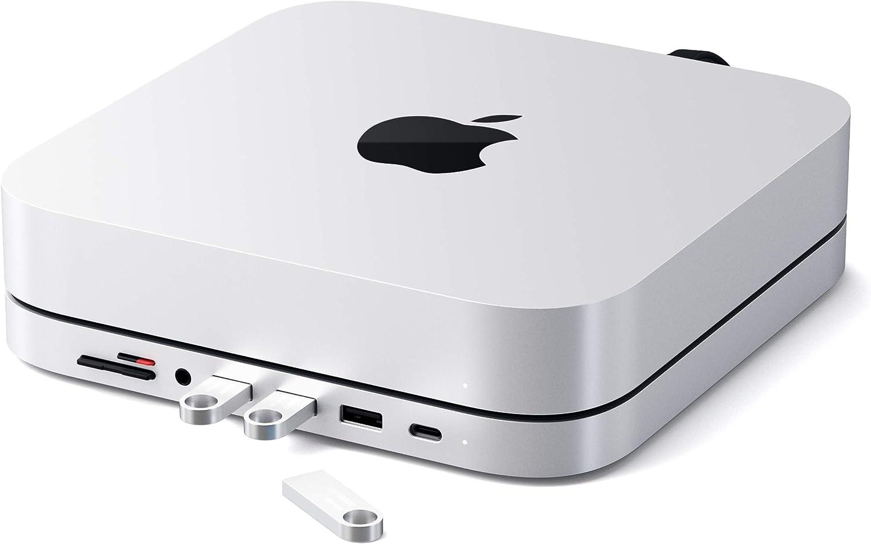 SATECHI Soporte & Hub Tipo-C de Aluminio – Compatible con 2020 y 2018 Mac Mini – Puerto de Datos USB-C, Lector de Tarjetas Micro/SD, USB 3,0 & Puerto Jack para Auriculares (Plata)
