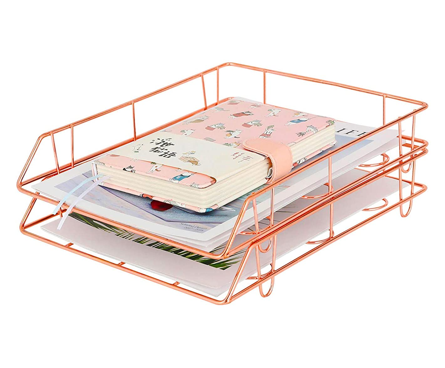 PAG Metal Stackable File Document Letter Tray Office Supplies Desk Organizer, Set of 2, Rose Gold