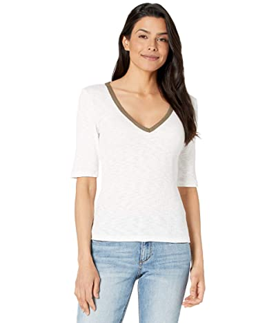 Lilla P Elbow Sleeve V-Neck Tee in Ribbed Flame Modal with Contrast Neck