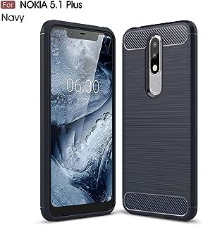 Nokia 5.1 Plus Case, Cruzerlite Carbon Fiber Shock Absorption Slim Case for Nokia 5.1 Plus (Blue)