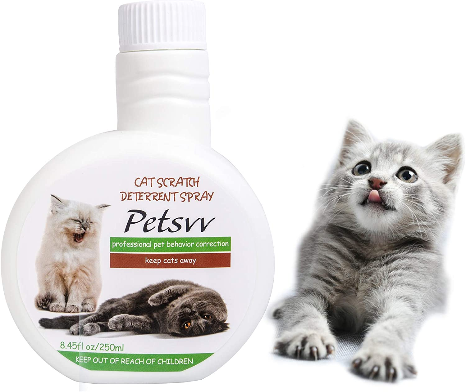 Anti Scratch Deterrent Spray for Cats, No Scratch Spray for Cats to Stop Scratching, Cat Repellent Spray for Indoor Use - 8.45oz