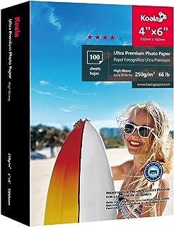 KOALA Premium alta brillante papel fotográfico de inyección de tinta con revestimiento de resina de 100 hojas 10x15 cm