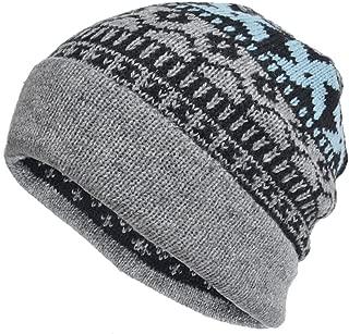Cool Men Roll Knit Beanie Rectangular Winter Skullcap Top Hat B816 (B5026-Grey)