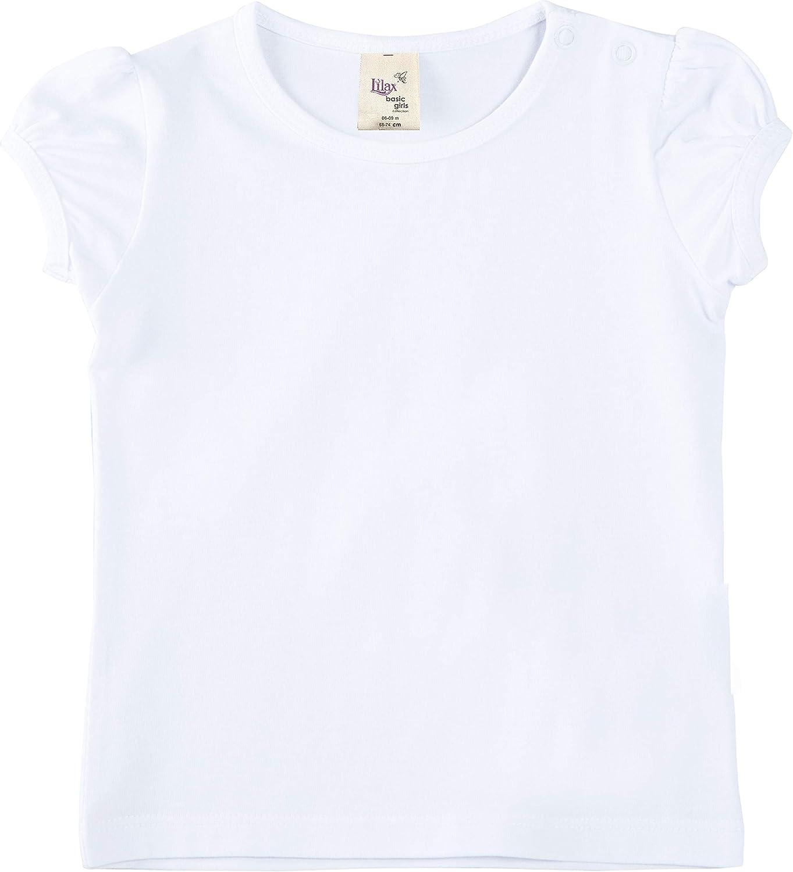 Lovetti Lilax Baby Girls' Basic Short Puff Sleeve Round Neck T-Shirt