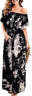 Womens Off The Shoulder Ruffle Party Dresses Tie Dye Split Maxi Long Dress