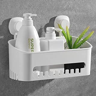 Luxear Shower Caddy Suction Cup, Drill-Free Removable Plastic Shower Caddy Wall Mounted Shelf with Hooks, Storage Basket Organizer for Kitchen, Bathroom, Bedroom etc - White