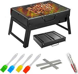 Barbecue Grill, Charcoal Grill Barbecue Desk Tabletop Outdoor Stainless Steel Smoker BBQ for Picnic Garden Terrace Camping...