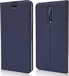 Nokia 8 Case, Jaorty Classic PU Leather Wallet Case Slim Folio Book Cover with Credit Card Slots, Cash Pocket, Stand Holder, Magnet Closure for Nokia 8 -Blue