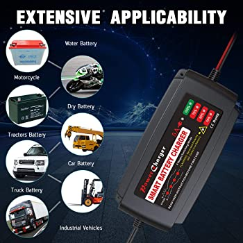 BMK 12V 5A Smart Battery Charger Portable Battery Maintainer with Detachable Alligator Rings Clips Fast Charging Wate...